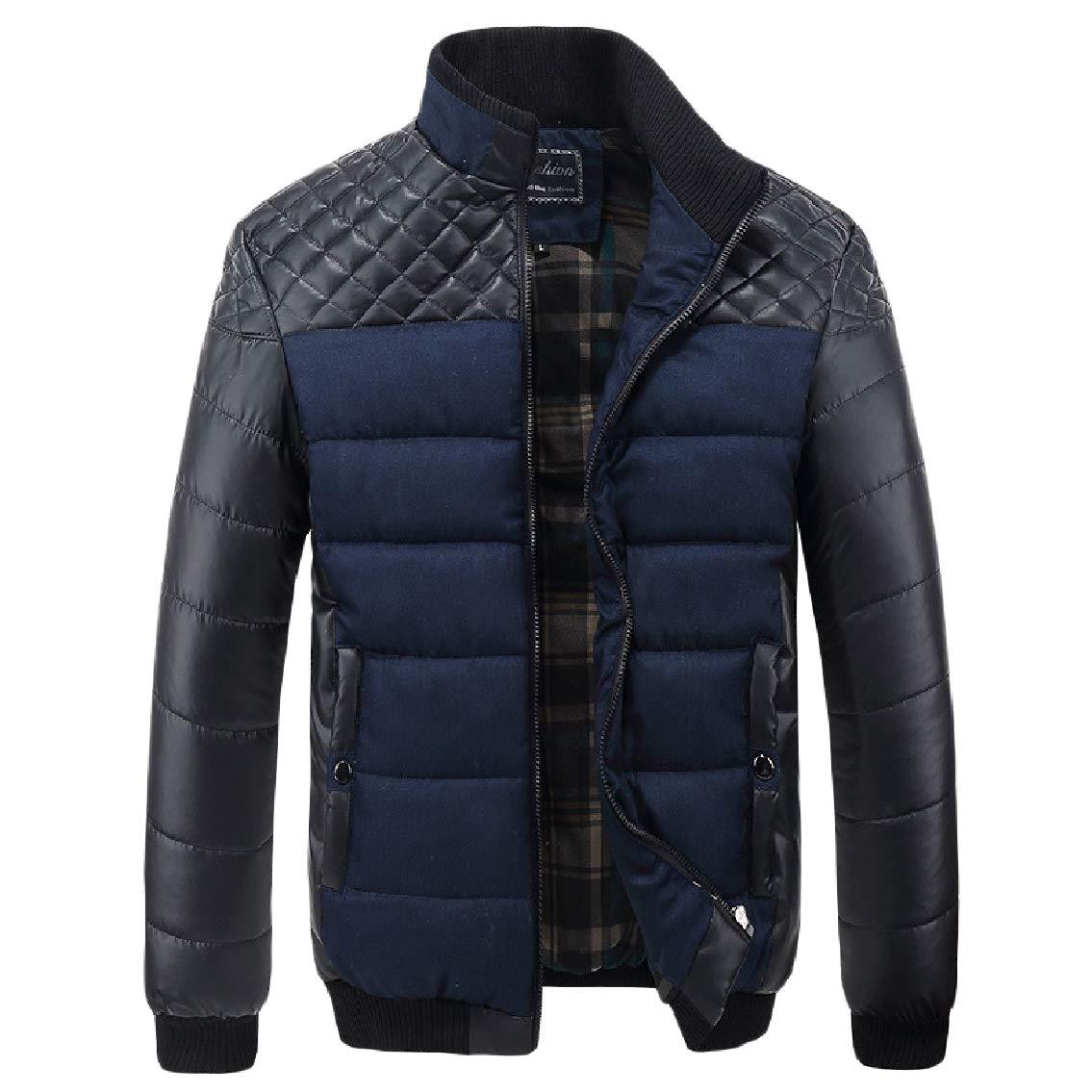 FreelyMen Pocket Stand Collar Thickened Cotton Zipper Splice Warm Outwear Coat