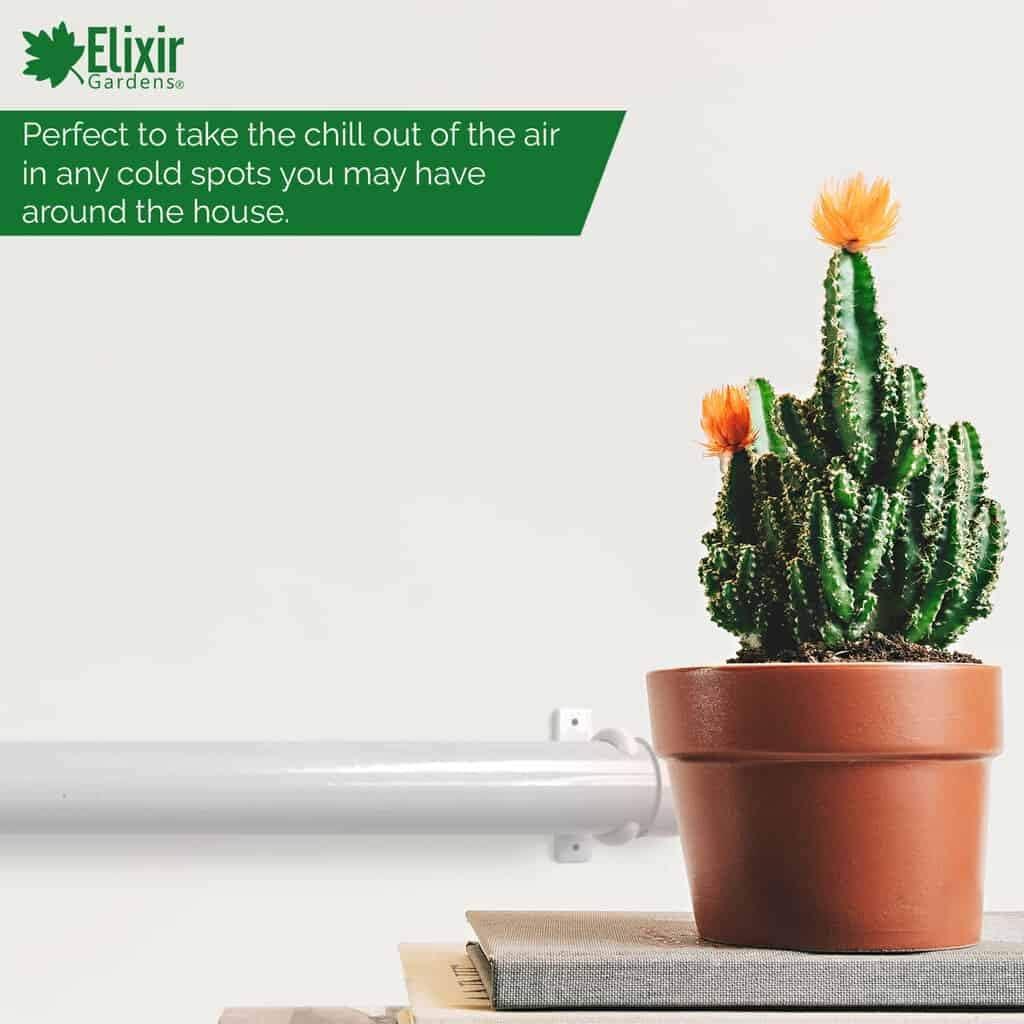 Elixir Gardens Tubular Tubo Calentador de bajo Consumo termostato Regulable ba/ño Invernadero Garaje