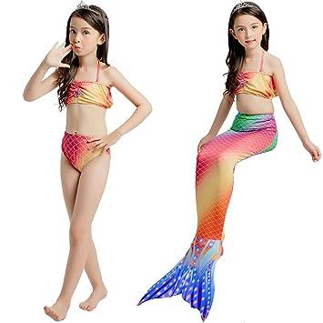 YIAIY Traje De Baño Sirena. Bikini De Tres Piezas, Niña ...