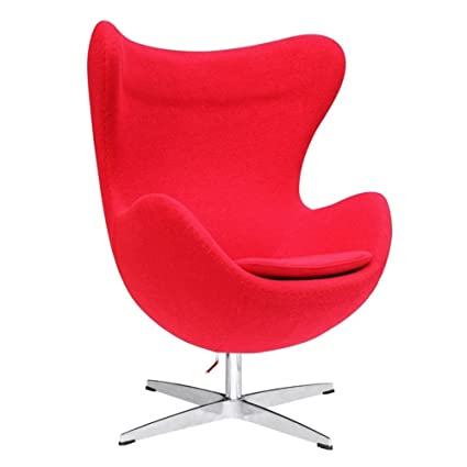 Designer Modern Arne Jacobsen Egg Chair   Red 100% Wool