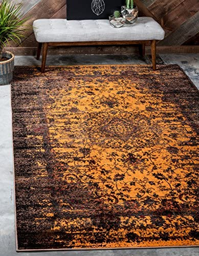 Unique Loom Imperial Collection Modern Traditional Vintage Distressed Yellow Area Rug 13 0 x 19 8