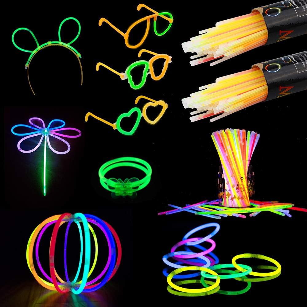 Vegena Pulseras Luminosas, Varitas Luminosas para Fiestas 20 cm 7 Colores con Conectores, Kits para Crear Gafas, Pulseras, una Collares, Pendientes, una Bola Luminosa Premium y Mucho Más (200 pcs): Amazon.es: Juguetes
