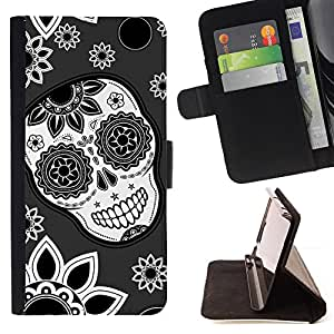 For Samsung Galaxy J1 J100 J100H Skull Flowers Wallpaper Floral Smile Style PU Leather Case Wallet Flip Stand Flap Closure Cover
