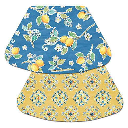 (Counterart Reversible Wedge Placemat - Lemons on Blue)