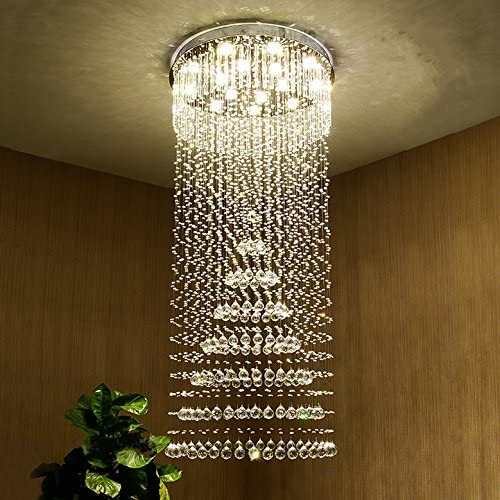 Saint Mossi Chandelier Modern Crystal Raindrop Chandelier Lighting Flush Mount LED Ceiling Light Fixture for Dining Room Bathroom Bedroom Livingroom Pendant Lamp 10 GU10 Bulbs Required 71 H 31 W