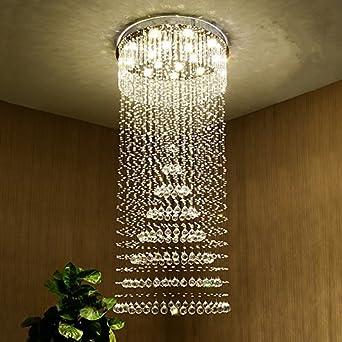 Saint Mossi Chandelier Modern Crystal Raindrop Chandelier Lighting Flush Mount LED Ceiling Light Fixture for Dining Room Bathroom Bedroom Livingroom Pendant Lamp 10 GU10 Bulbs Required 71 H 31 W