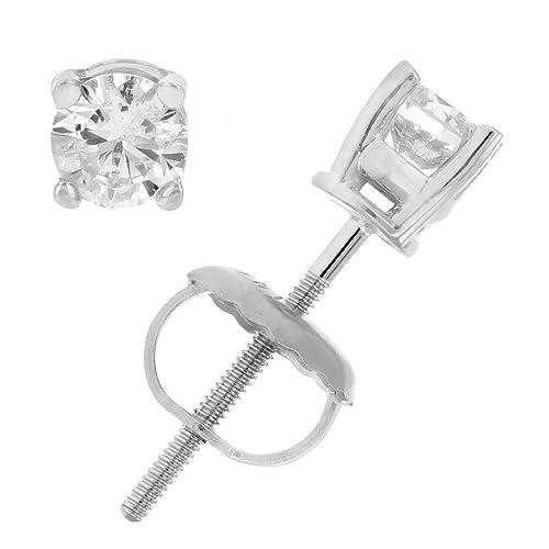 AGS Certified I1-I2 14K 1/3 CT Diamond Stud Earrings White Gold