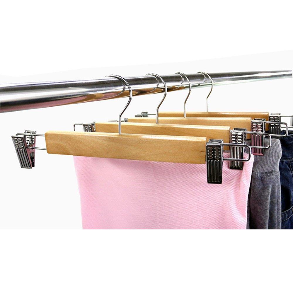 10 unidades. LOHAS Home Percha de madera natural para pantalones y faldas con 2 ajustables antioxidantes clips