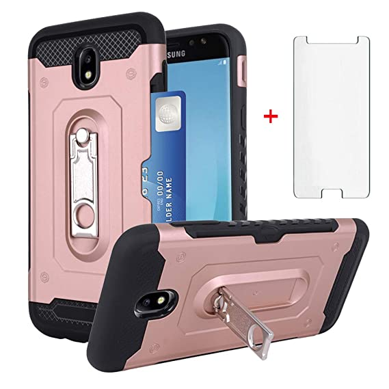 274a11a3d735e6 Samsung Galaxy J7 Pro J730G Wallet Phone Case with Tempered Glass Screen  Protector Cell Accessories Credit