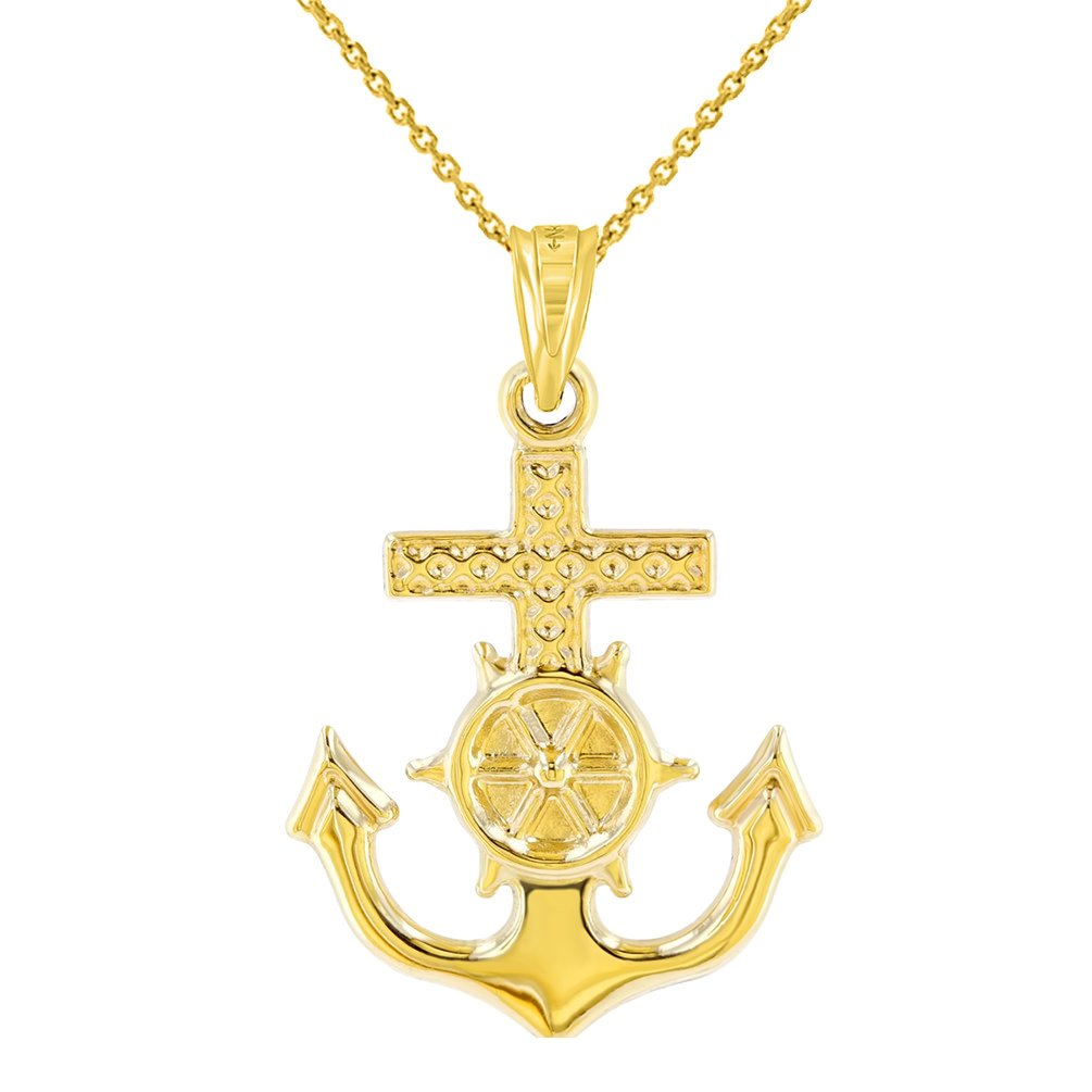 Solid 14K Yellow Gold Anchor Charm with Mariner's Cross Nautical Pendant Necklace, 18''