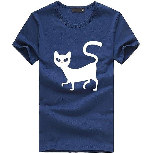 Caren Camiseta para Mujer De Manga Corta con Estampado De Gato ...