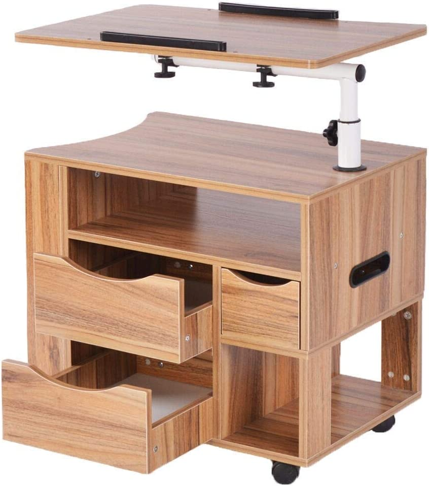 AnRuiAdjustable Side Bed Bedside Table RollingComputer Laptop Desk Nightstand Rotary Mobile Wheeled Home Office Furniture with 2 Drawers Apartment Space Saving Compact Lap Desk Small Spaces