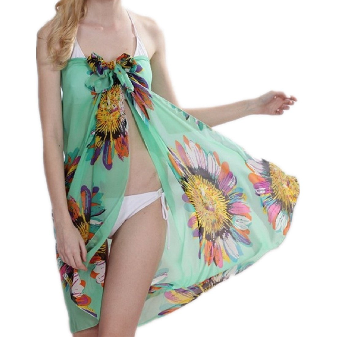 HeartBee Flower Mixed Color Design Beach Sarong Cover Up HB111080