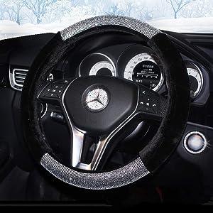 KAFEEK Diamond Short Microfiber Plush Steering Wheel Cover with Bling Bling Crystal Rhinestones for Winter Warm, Universal 15 inch Anti-Slip