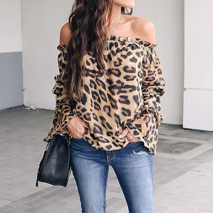BHYDRY Donne Camicetta Casuale Leopardo Stampato Manica Lunga Camicia Fredda off Spalla Top
