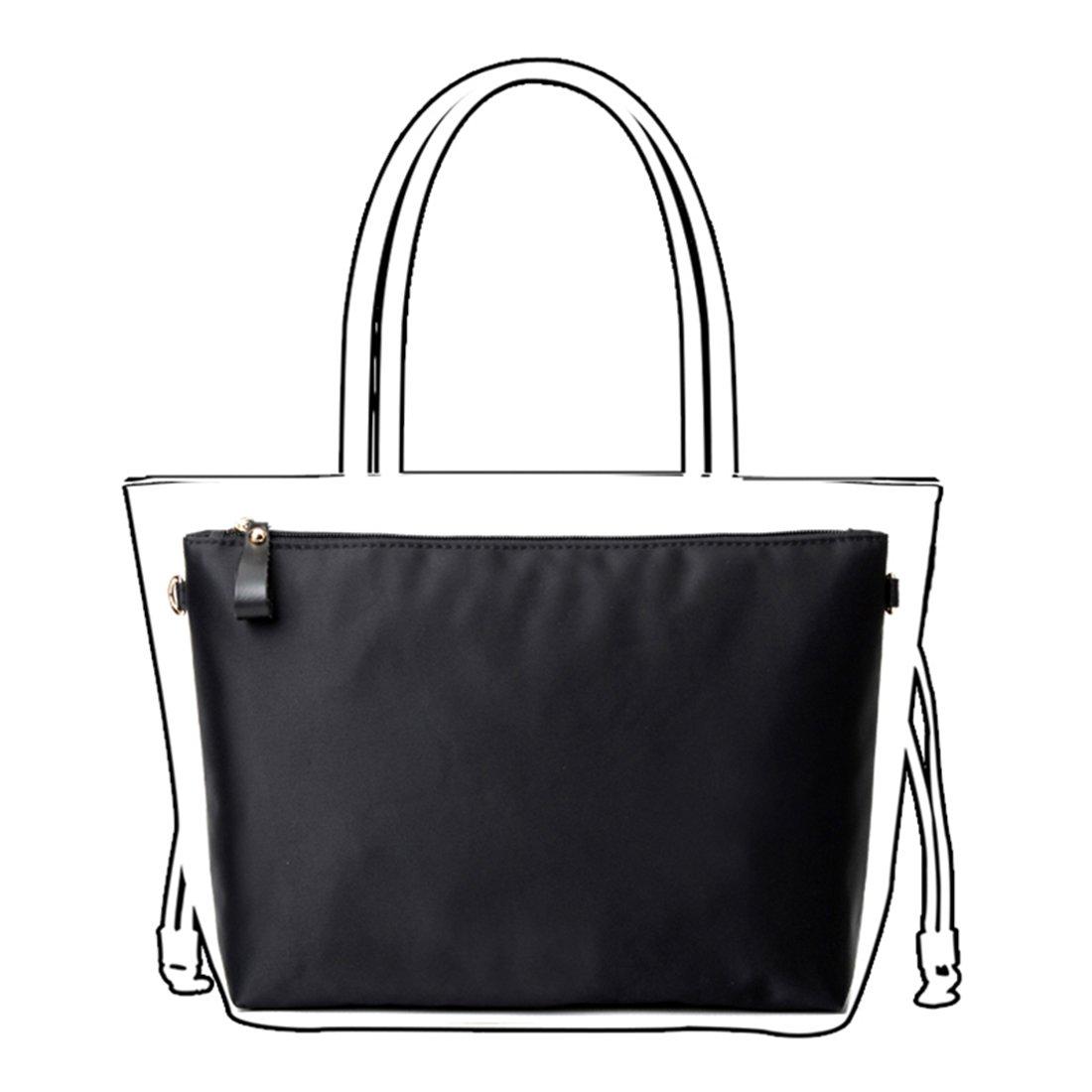 Enerhu Nylon Insert Bags Handbag Tote Purse Organizer Bag in Bag Backpack Travel Storage Pockets Zipper Clouse Medium #2 Black