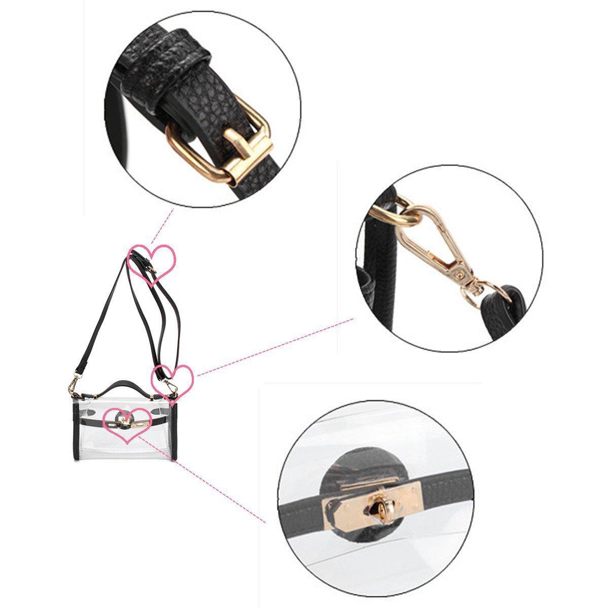 Haolong Womens Clear Jelly Bag Transparent Cross-Body Messenger Shoulder Bag Purse