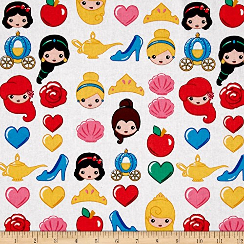 Disney Emojiland Princess Toss White Fabric By The Yard