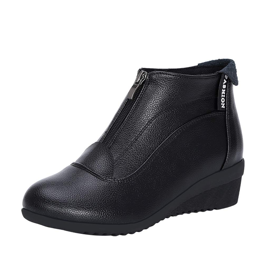 HAALIFE◕‿ Womens Slip on Boots Classic Ankle Wedge Platform Boots Soft Leather Low Heel Cozy Spring Short Boots Black by HAALIFE Shoes