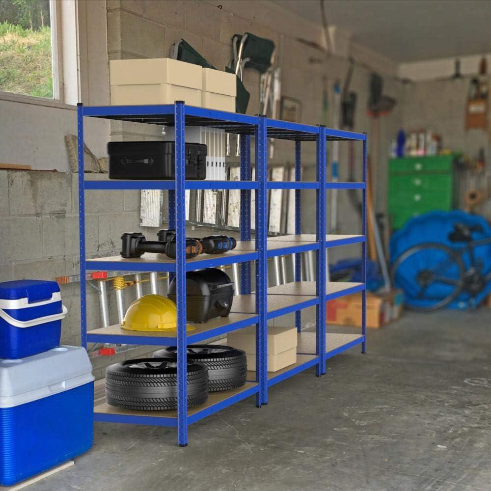 Yaheetech Estanter/ía Met/álica Estante de Almacenamiento 5 Baldas para Garaje 120 x 60 x 180cm