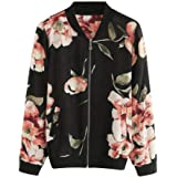 272748a58c3 HLHN Women Jacket Hoodies Coat Floral Long Sleeve Windbreaker Casual Zip  Pockets Outwear Winter