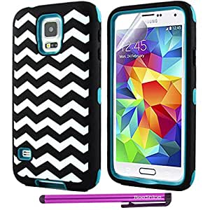 BeeShine Retail Package 2 in 1 Design Heavy Hybrid Armor Style PC Hard Plastic and Silicone Composite Case Cover Skin For Samsung Galaxy S5 / SV / G900 + Screen Protector & Touch Stylus Pen (Wave Cyan)