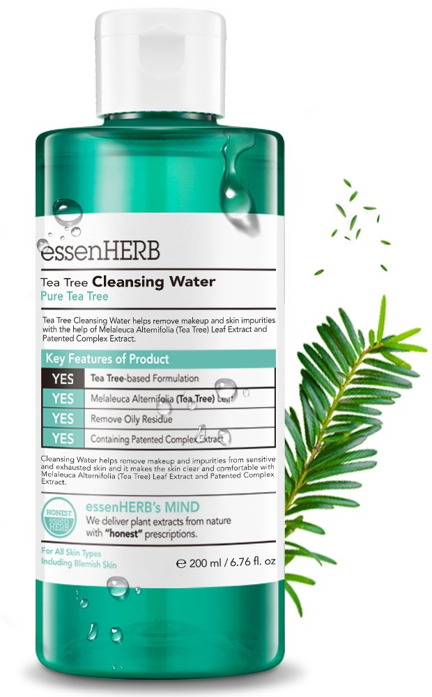 ESSENHERB TEA TREE FACE WASH - Cleansing and Makeup Remover, Blemish Care system, Low-irritating cleansing water facial wash that cleans up skin waste.