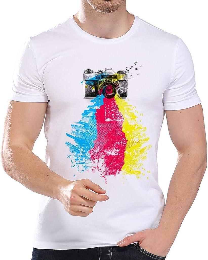 Homebaby/® Camicia Uomo Elegante Maglietta Manica Corta Estivi Casual Stampa T-Shirt Uomo Vintage Stretch Maglione Cotone Uomo Sportivi Tumblr Estiva Particolari Magliette Corte
