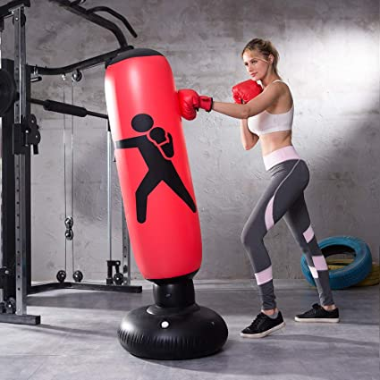 Kids Fitness Inflatable Boxing Set Tower Punching Bag Gloves Exercise Toys