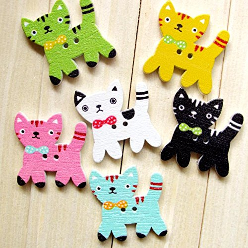 1 opinioni per SONGQEE(TM) Pack of 25 Colorful Shape 2 Hole Wooden Buttons , for crafting