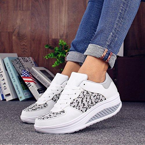 Hoxekle Womens Augmenté Hauteur Chaussures De Marche Antidérapant Lacets Chaussures De Course En Plein Air Wedge Blanc