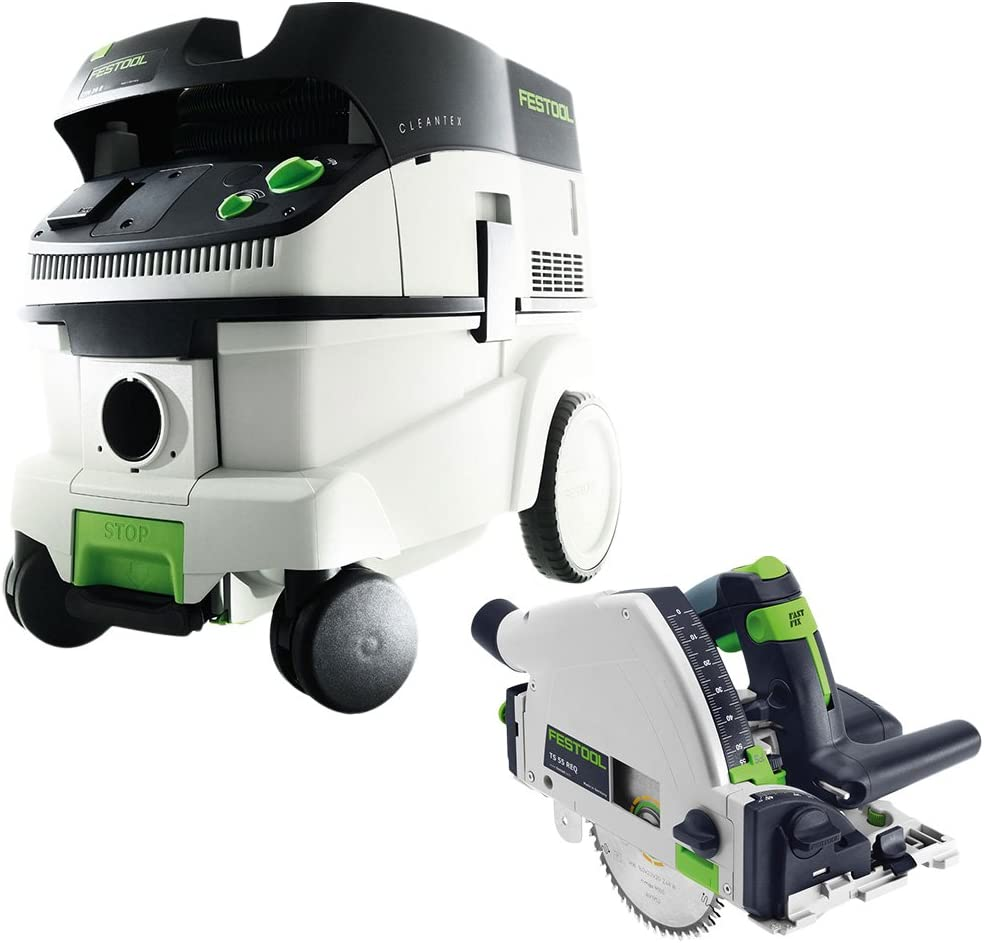 Festool P26561556 Plunge Cut Circular Saw with CT 26 6.9 E Gallon HEPA Mobile Dust Extractor