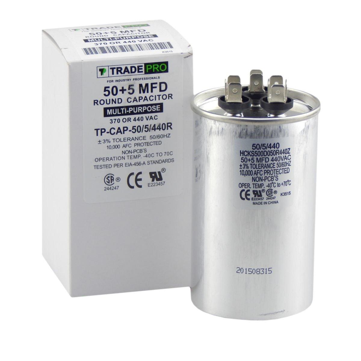 TradePro 50 + 5 mfd Dual Run Capacitor 370/440 Volt Round 50/5: Amazon.com:  Industrial & Scientific