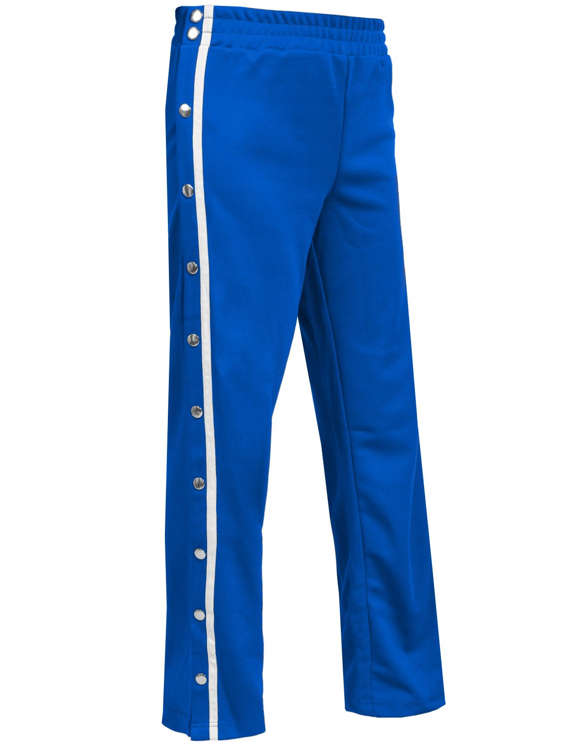 NE PEOPLE Womens Casual Elastic Side Snap Button on Track Long Wide Leg Pants