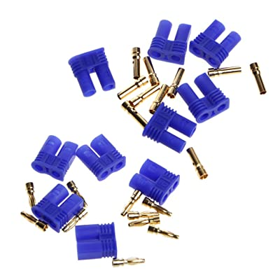 Shaoge 5 Pairs EC2 2.0mm RC Lipo Battery Connector Gold Bullet Banana Plug Male&Female: Toys & Games