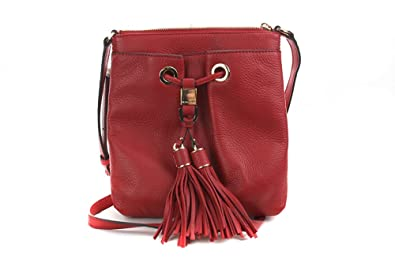 68a047b7dd5a Image Unavailable. Image not available for. Color  Michael Kors Camden  Drawstring Red Crossbody