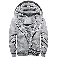 MANLUODANNI Men's Fleece Hooed Hoodies Thick Wool Warm Winter Jacket Coats