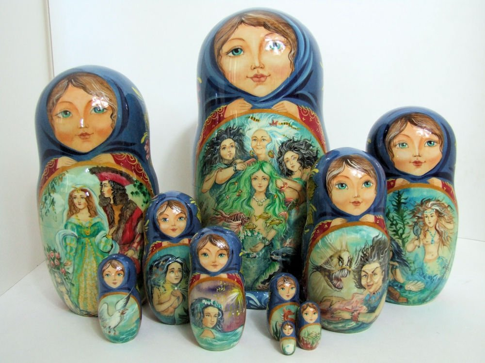 One of a kind 10pcs Russian Nesting Doll ''Little Mermaid'' by Frolova