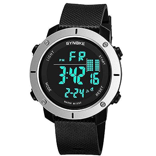 0206d48604a5 Mens Digital Relojes Deportivos Pantalla LED Multifunción 50M Relojes  Militares de Doble acción a Prueba de Agua y Casual Luminoso Simple Reloj  del ejército ...