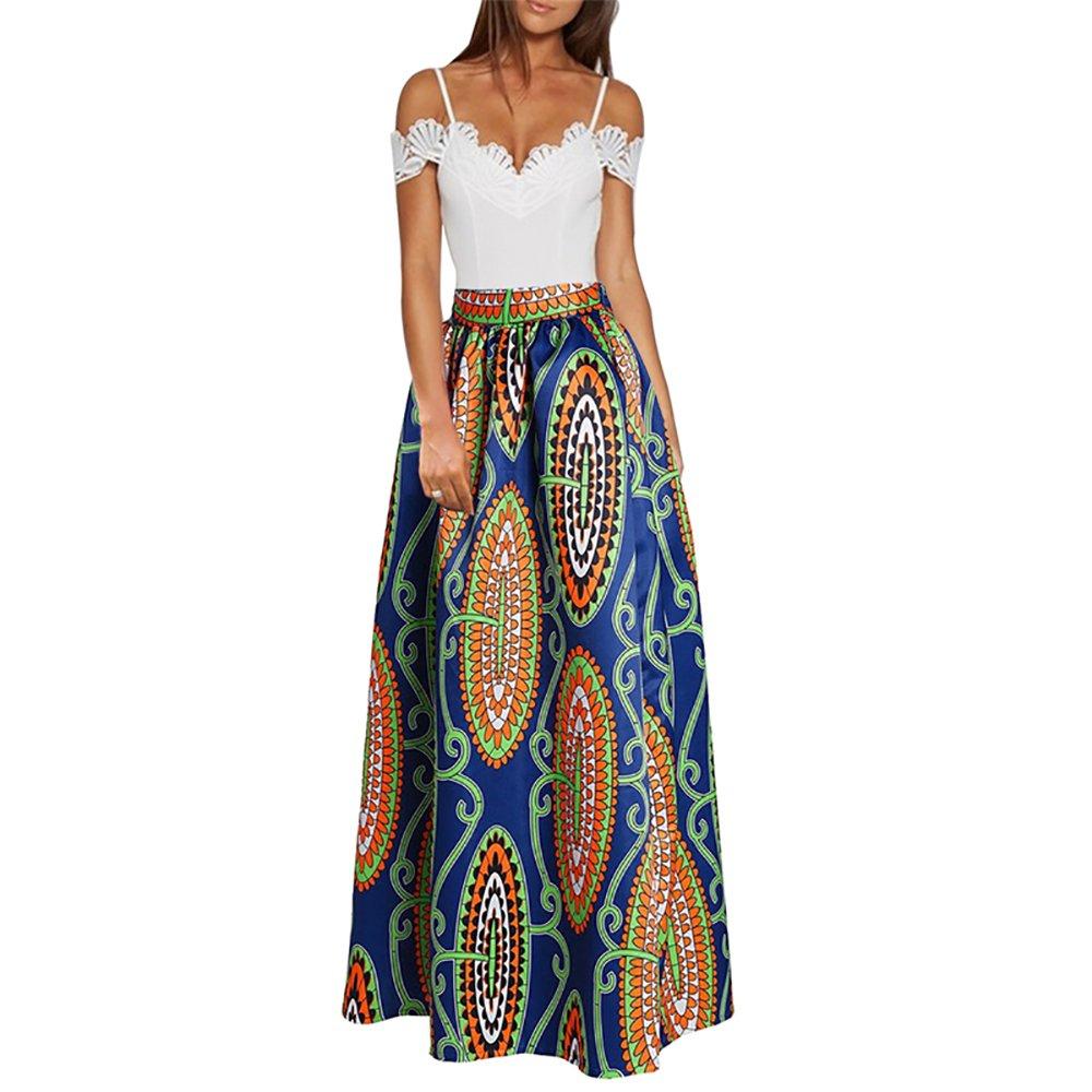2d3135d3f1 CLOCOLOR Falda Larga Plisada Encaje con Estampado Exótico Africano Para  Mujer Talla Grande Casual Cintura Alta Falda Vintage Longitud Maxi con  Bolsillo  ...