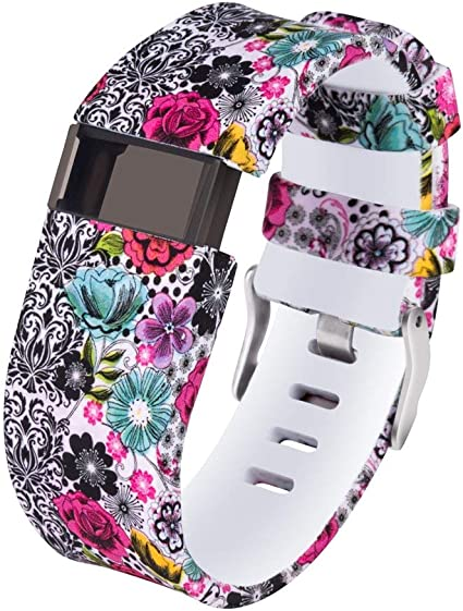 ZIGFRIAD Gealpoor Newest Colorful Flower for Charge HR Bands,Soft Silicone Replacement Adjustable Band Sports Strap for Fitbit Charge HR Large//Small for Womens//Mens//Girls S, Red Flower