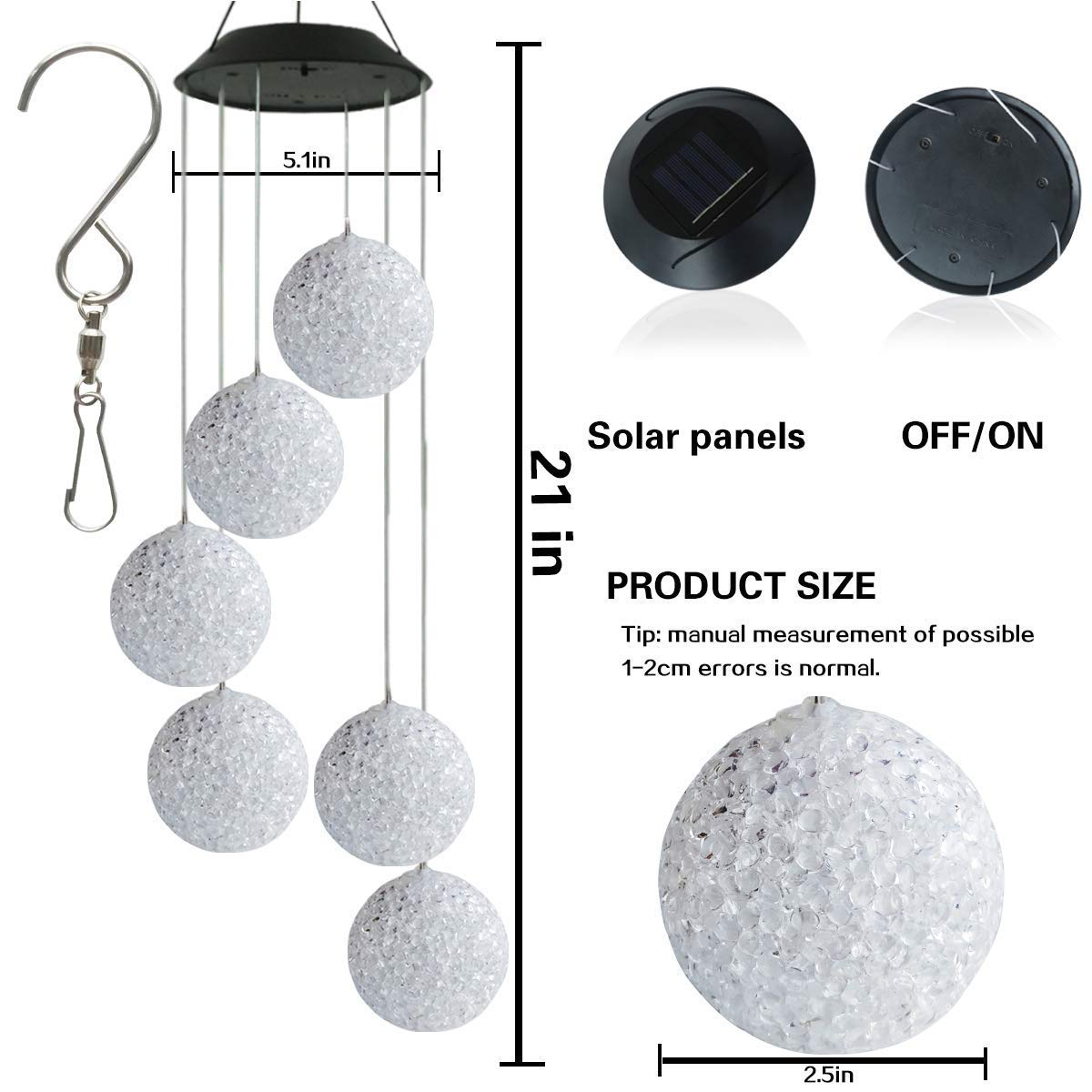 Wind Chime BINWO Solar Wind Chimes Spiral Spinner Crystal Ball Wind Mobile Waterproof Outdoor Decorative Hanging Wind Bell Color Changing Light for Mum Gift or Patio Yard Garden Home Decoration