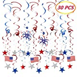 #7: 4th of July Patriotic Party Decorations (30 PCS), Lumiparty Patriotic Streamers with American Flag, Foil Streamers, Star Swirl Hanging Decorations (Red, White, Blue), Patriotic Party Supplies