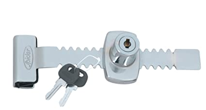 Spider Steel Regular Sliding Glass Lock with 2 Moulded Keys (Pack of 3 Pcs)