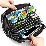 WDT Credit Card Wallet Leather RFID Wallet for Man&Women, Huge Storage Capacity (Black 1)