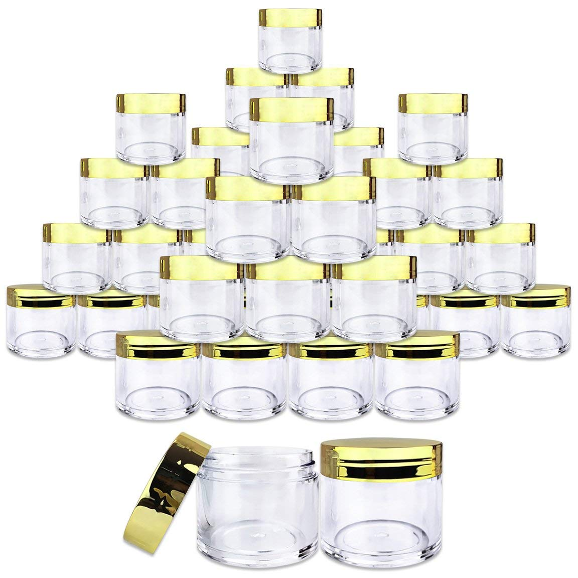 Beauticom 30G/30ML(1 Oz) Thick Wall Round Plastic Container Jars with Flat Top Lids - Leak-Proof Jar - BPA Free (300 Pieces, GOLD)