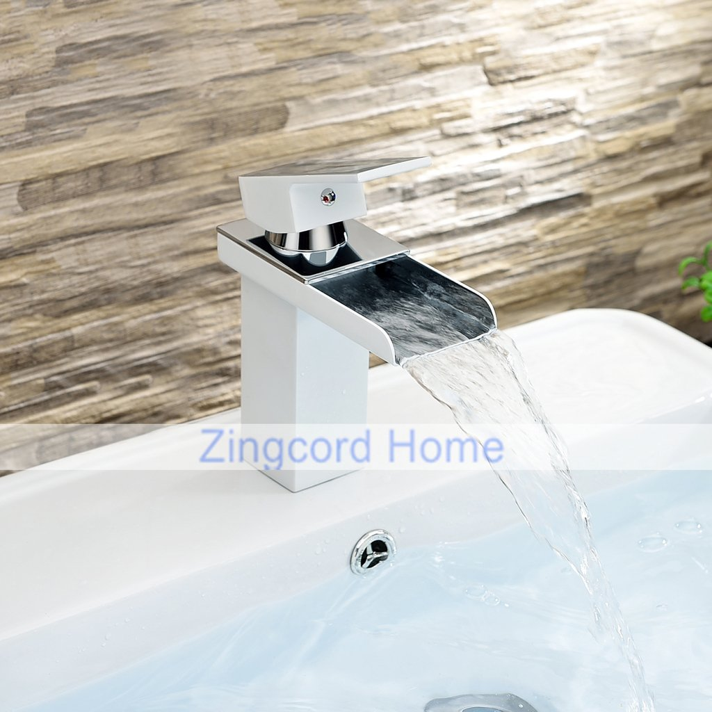 Zingcord Contemporary White Baking Finish Luxury Centerset Single Handle LED Color Change Waterfall Bathroom Sink Faucet by Zingcord (Image #2)