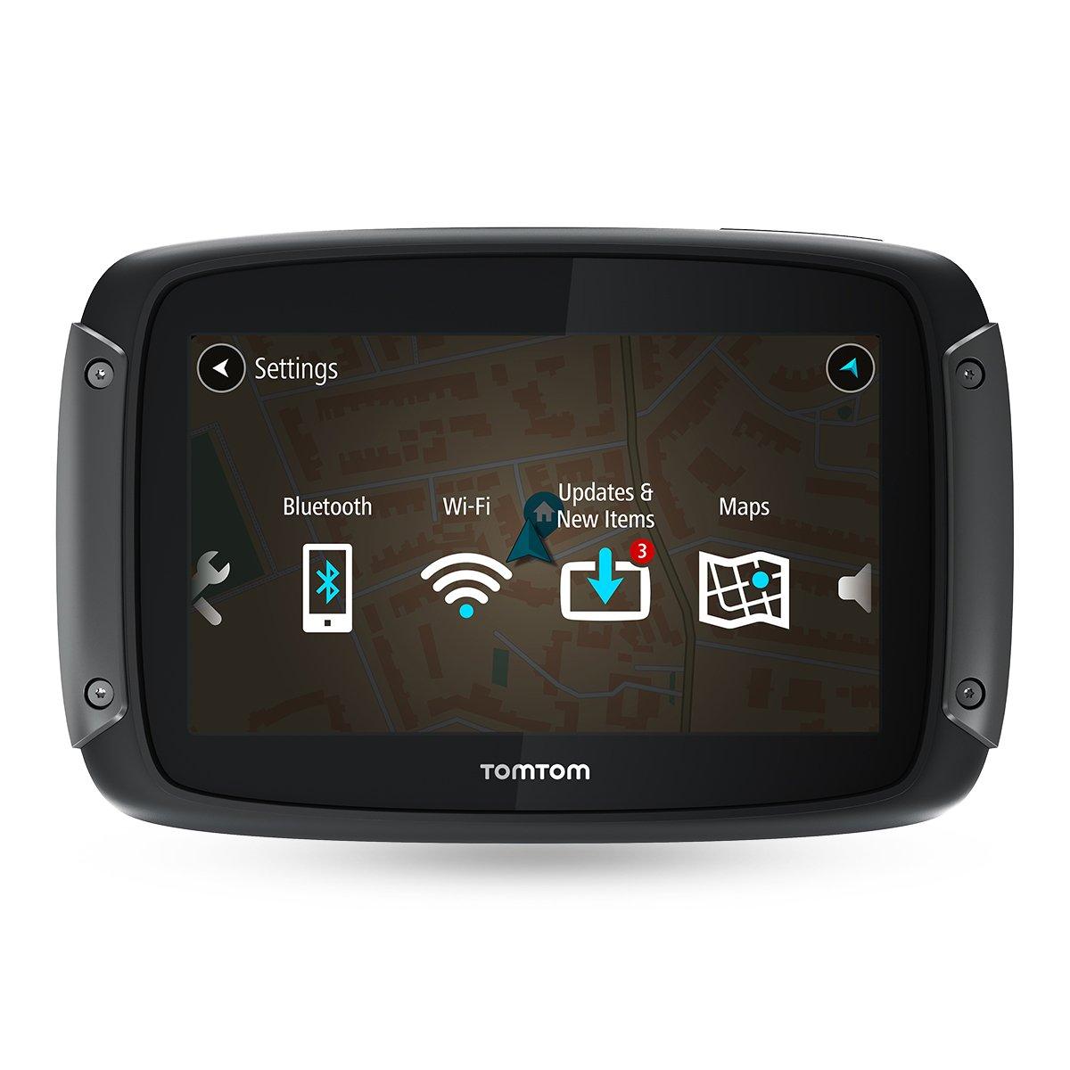 TomTom Classica Custodia Rigida Percorsi Tortuosi e Collinari Dedicati alle Moto Aggiornamenti Tramite Wi-Fi Mappe dell/'Europa 49 Paesi TomTom Rider 500 Navigatore per Moto