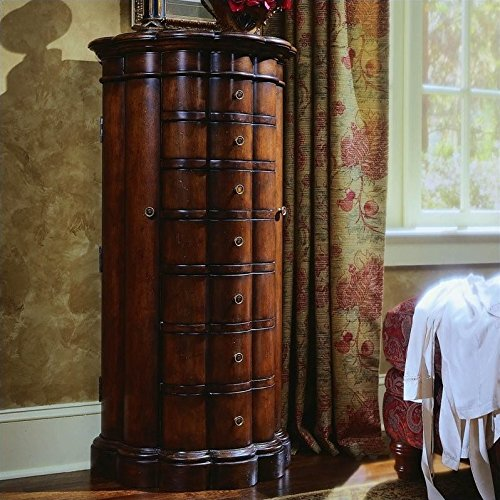 (Hooker Furniture Seven Seas Shaped Jewelry Chest in Cherry Finish)