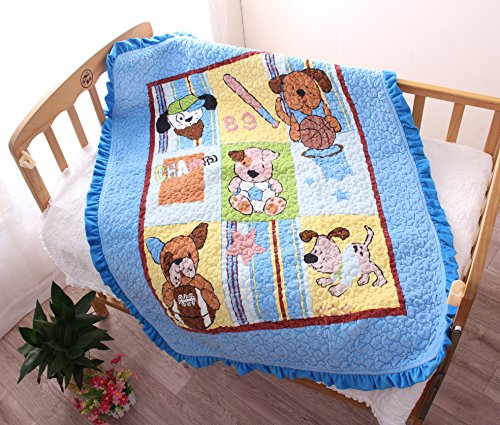 J-pinno Puppy Dogs Cozy Velvet Cotton Quilt Bedspread Throw Blanket Gift for Toddler Baby Crib Bedding Coverlet, 35